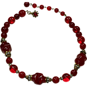 Vintage 'Miriam Haskell' Red Necklace