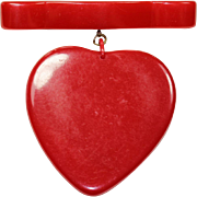 Vintage Red Heart Bar Pin