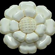 Vintage Plastic White Flower Pin