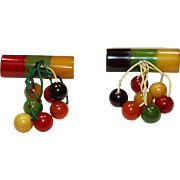 Vintage Bakelite Colored Bar Pin with Beads Set