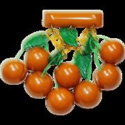 Vintage Butterscotch Bakelite Cherry Cluster Bar Pin