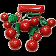 Vintage Red Bakelite Cherry Cluster Bar Pin