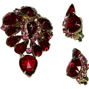 Vintage Red Crystal Pin and Earring Set