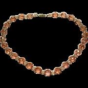 Vintage Peach Crystal Necklace