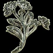 Vintage Sterling Flower Pin
