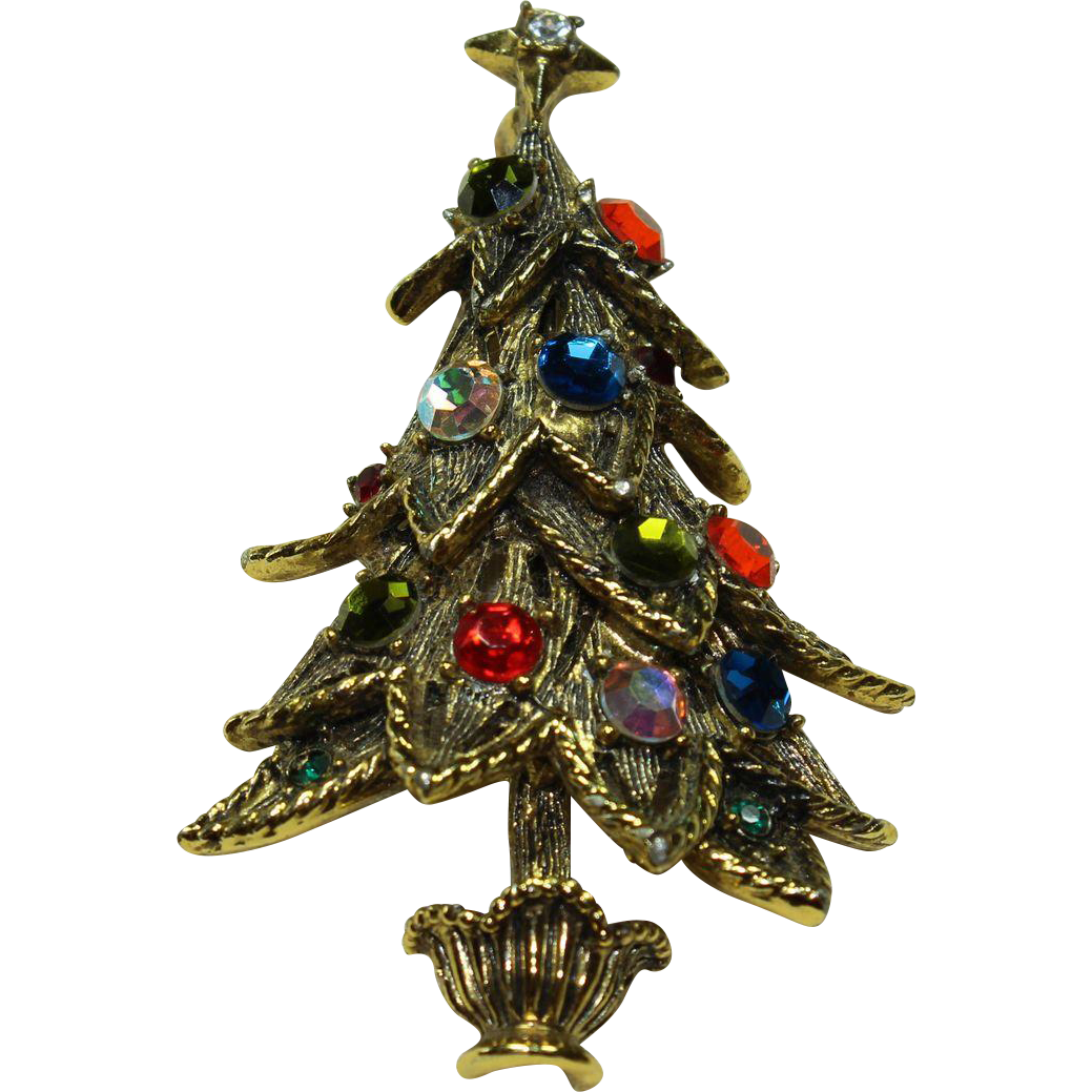 Vintage Hollycraft Christmas Tree Pin From Little Vintage