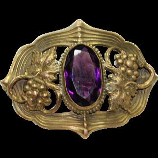 Vintage Purple Crystal Grape Pin