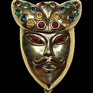 Vintage Crystal Mask Face Pin