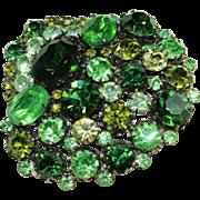"Vintage ""Western Germany"" Green Crystal Pin"