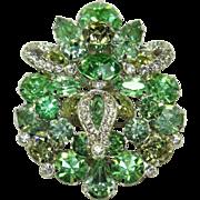 Vintage EISENBERG Green Crystal Pin