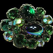 Vintage REGENCY Green Crystal Pin