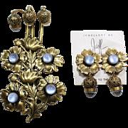 Elegant Acorn Joseff Pin and Earring Set