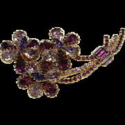 Vintage Purple Crystal Flower Pin
