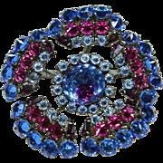 Vintage Blue Crystal Schreiner Pin