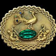 Vintage Green Crystal Peacock and Cherub Pin