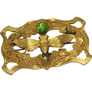 Vintage Green Cabochon Butterfly Pin