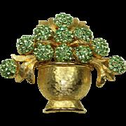 Vintage Schiaparelli Green Crystal Floral Pin