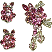 Vintage Eisenberg Pink Pin and Earring Set
