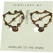 Joseff Blue Crystal Heart Earrings