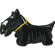 Vintage Black Plastic Scottie Pin