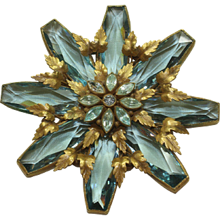 Joseff Aqua Crystal Pin