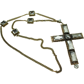 Joseff Crystal Cross Necklace