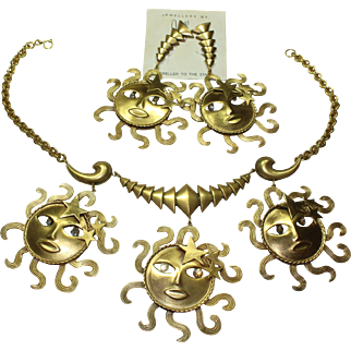 Joseff Sun God Necklace and Earring Set