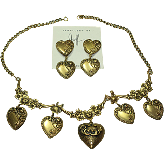 Joseff Heart Necklace and Earring Set