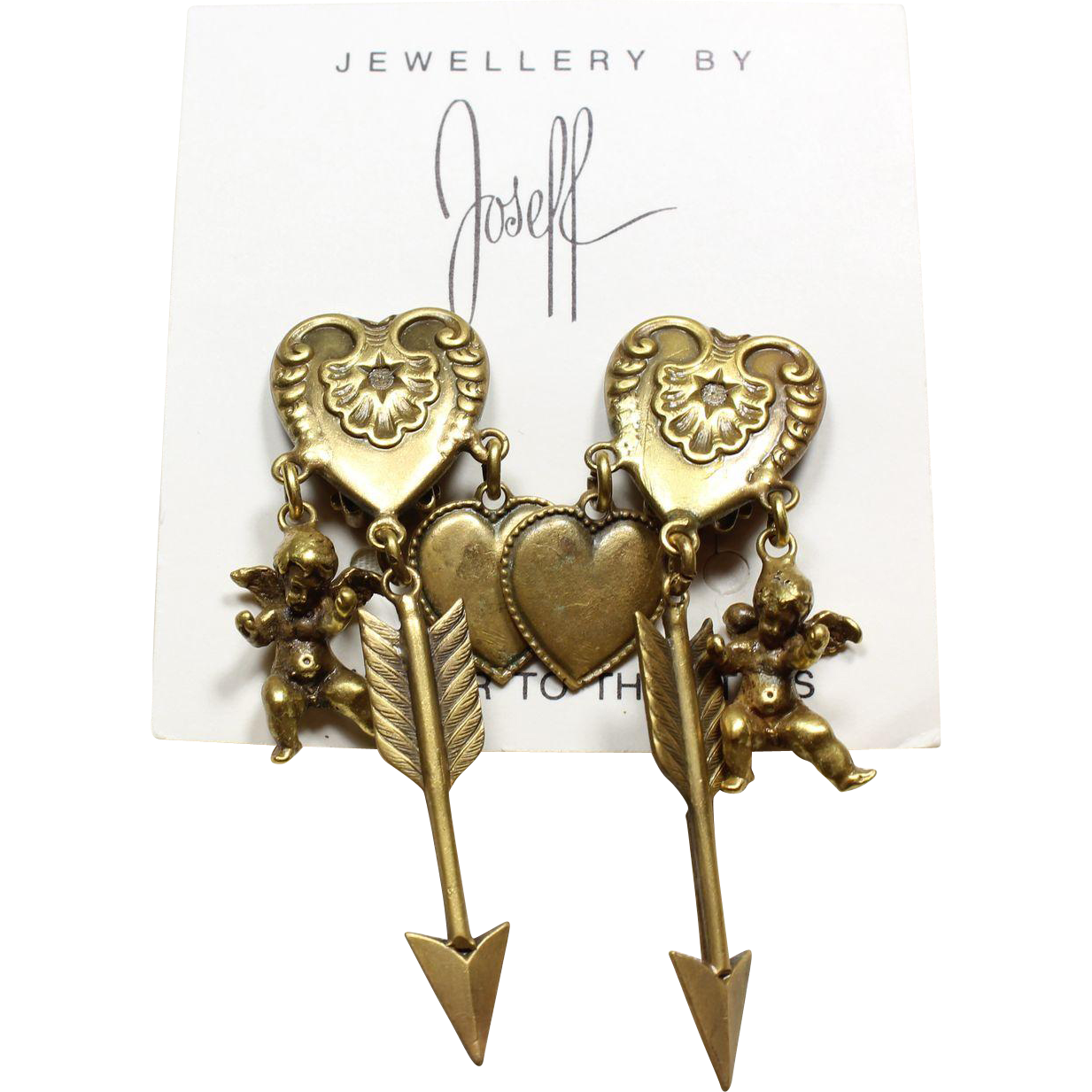 Joseff book piece charm heart earrings from little vintage for Best place to sell gold jewelry in chicago