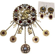 Joseff Oriental Gargoyle Pin and Earring Set