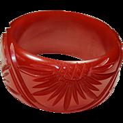 Vintage Carved Red Bakelite Bracelet