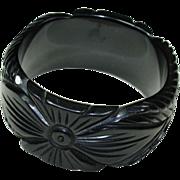 Vintage Black Carved Bakelite Bracelet