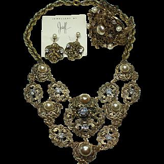 Joseff Book Piece Cherub Bib Necklace, Earring and Bracelet Set