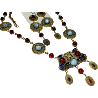 Joseff Oriental Cabochon Necklace and Earring Set