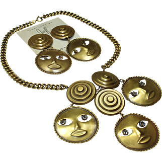 Joseff Moon Necklace and Earrings Set