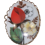 Floral Brooch with Porcelain Cameo