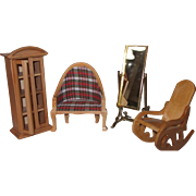Vintage Wooden Dollhouse Furniture