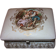 1940's Porcelain Jewelry Box with beautiful Love Scene!