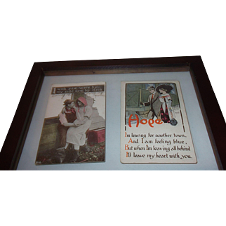 1914 Postcards in double sided frame!