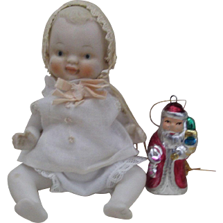 """5"""" All Bisque Jointed Vintage Baby with Santa Toy!"""