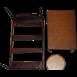 4 Poster Bed, Tables, Vintage Dollhouse Furniture,