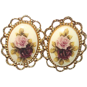 A Vintage Pair of Cameo Inspired Rose Pierced Earrings
