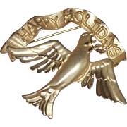 A Signed Vintage Holiday Peace Dove Pin!