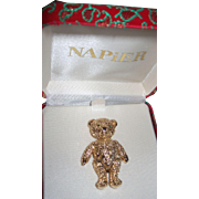 Vintage Napier Articulated Teddy Bear Pin!