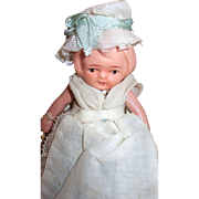 "Vintage Circa 1920 4"" Painted All Bisque Travel Doll in Original Box : England"