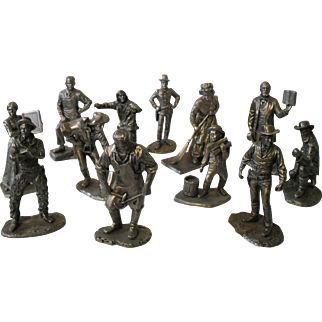 Vintage American Sculpture Society Fine Pewter Old West Set of Figurines