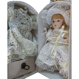 """Vintage 4.5"""" Travel Doll with Case and Extra Dress"""