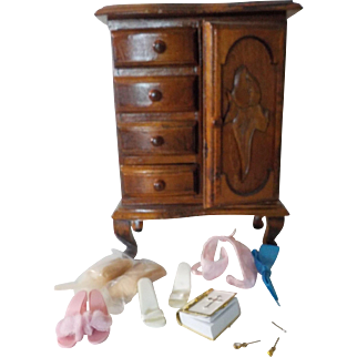 """9"""" Decorative Wooden Doll Dresser with various Doll Sundries."""