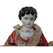 "Antique German 8"" Hertwig Pet Name Bertha China Head Doll"