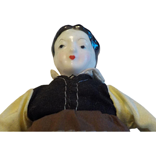 """7"""" Porcelain and Cloth Topsy Turvy Doll"""